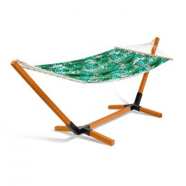 Hamac CUBA support bois toile motifs tropicaux