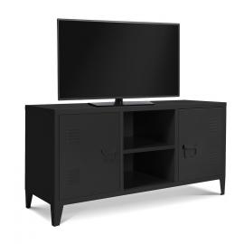 Meuble TV 2 portes ESTEL en métal noir