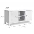 Meuble TV 2 portes ESTEL en métal blanc