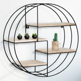 Etagère murale ronde LILY triple cercle 4 niveaux bois métal design industriel
