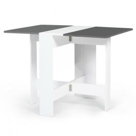 Table console pliable EDI 2-4 personnes bois blanc plateau gris