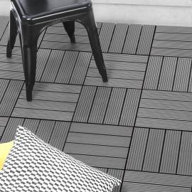 Lot de 5 dalles de terrasse WODHY clipsables bois composite gris