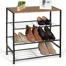 Etagère à chaussures ARTHUR 3 niveaux effet vieilli design industriel