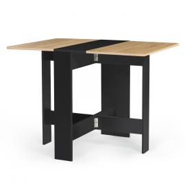Table console pliable EDI 2-4 personnes bois noir plateau façon hêtre