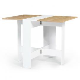 Table console pliable EDI 2-4 personnes bois blanc plateau façon hêtre