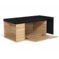Table basse rotative bois et noir 360° LIZZI extensible avec coffre