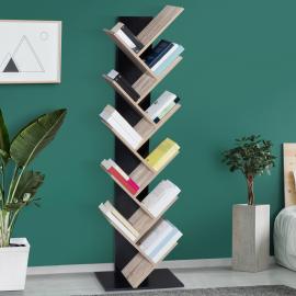 Etagère bibliothèque à livres TEA forme d'arbre 10 niveaux bois noir et étagères façon hêtre