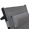 Lot de 2 transats aluminium gris avec coussin