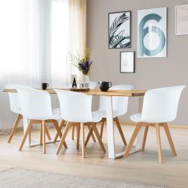 Lot de 6 chaises SOLENE blanches pour salle à manger
