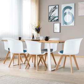 Lot de 6 chaises SOLENE édition spéciale blanches coussin mix color