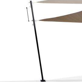Mât de fixation réglable pour voile d'ombrage H. 220 cm poteau et base acier