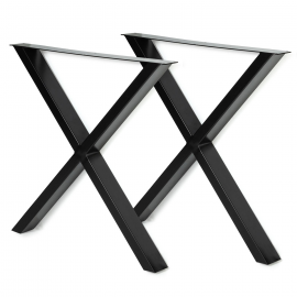 Lot de 2 pieds de table forme X 69x72 cm noirs design industriel