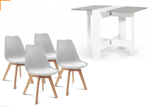 1 TABLE CONSOLE PLIABLE EDI BLANCHE PLATEAU EFFET BÉTON + 4 CHAISES SARA GRIS CLAIR