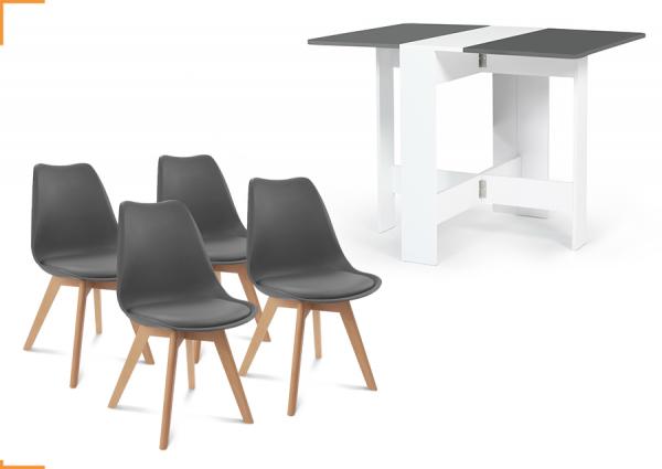 1 TABLE CONSOLE PLIABLE EDI BOIS BLANC PLATEAU GRIS + 4 CHAISES SARA GRIS FONCÉ
