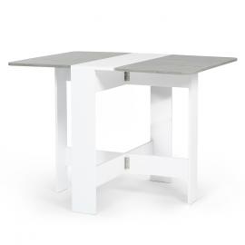 Table console pliable EDI 2-4 personnes blanche plateau effet béton