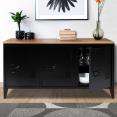 Buffet bas 3 portes ESTER en métal noir et plateau bois