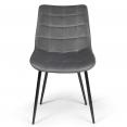 Lot de 4 chaises MADY en velours gris clair pour salle à manger