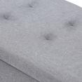 Banc coffre rangement sur pied 100 cm en tissu gris clair