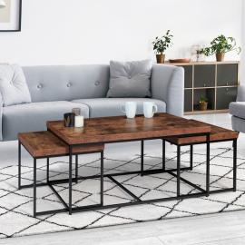 Lot de 3 tables basses gigognes DAYTON 113 cm plateau épais effet vieilli design industriel