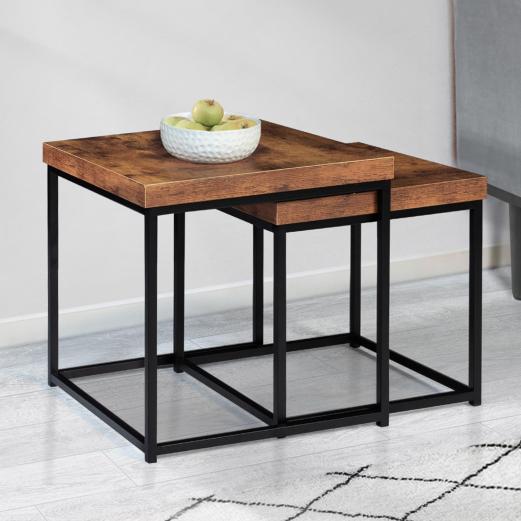 Lot de 2 tables basses gigognes DAYTON 40/45 plateau épais effet vieilli design industriel