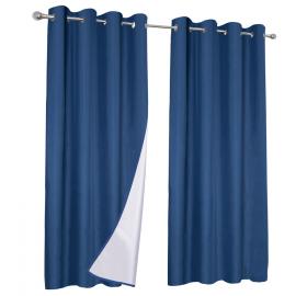 Lot de 2 rideaux thermiques bleus 135x240 cm