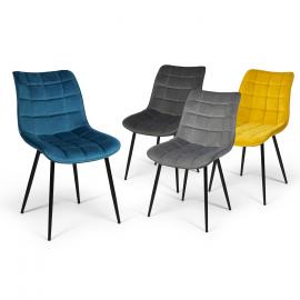Lot de 4 chaises MADY en velours mix color bleu, gris clair, gris foncé, jaune