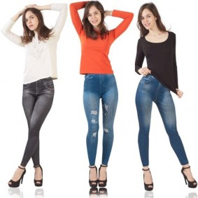 Jegging lot X3 L/XL legging imitation jean gainant femme