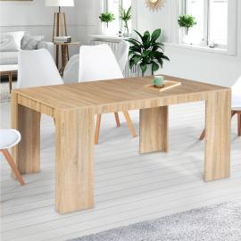 Table console extensible ORLANDO 6 personnes 140 cm bois façon hêtre