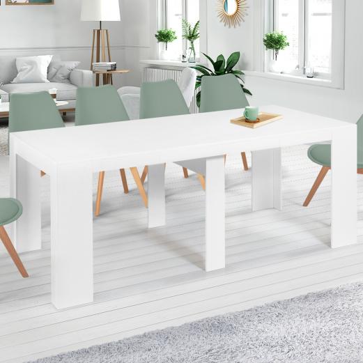 Table console extensible ORLANDO 10 personnes 235 cm bois blanc