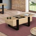 Table basse avec coffre PHOENIX bois et noir