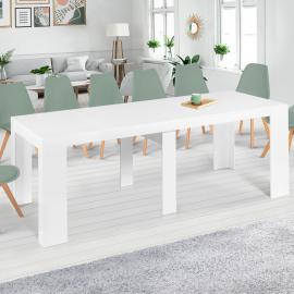 Table console extensible ORLANDO 14 personnes 300 cm bois blanc