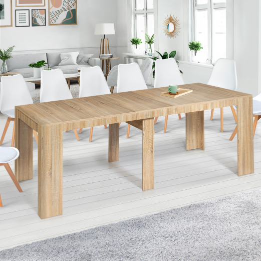 Table console extensible ORLANDO 14 personnes 300 cm bois façon hêtre