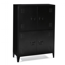 Armoire casier 4 portes ESTEL en métal noir
