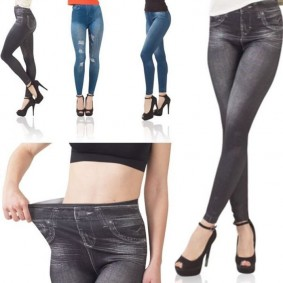jegging lot X3 S/M legging imitation jean gainant femme