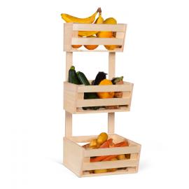 Légumier en bois 3 étages paniers à fruits à suspendre