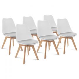 Lot de 6 chaises SARA édition spéciale blanches coussin gris