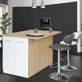 Ilot central IVO 120 cm bois façon hêtre portes et étagères blanches avec plan de travail