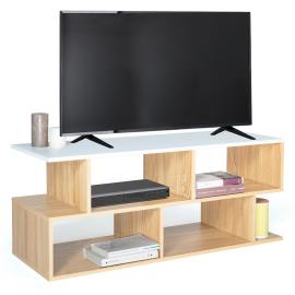 Meuble TV OHIO bois façon hêtre et plateau blanc