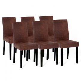 Lot de 6 chaises HANNAH marron vintage pour salle à manger