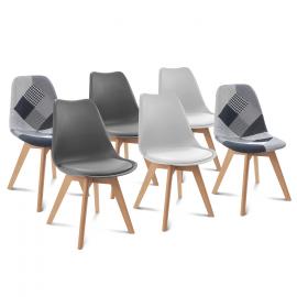 Lot de 6 chaises SARA gris foncé X2, gris clair X2 et patchworks