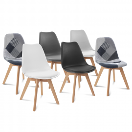 Lot de 6 chaises SARA gris foncé, gris clair, blanc, noir et patchworks