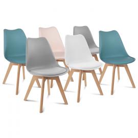 Lot de 6 chaises SARA mix color rose, blanc, gris clair X2, bleu X2