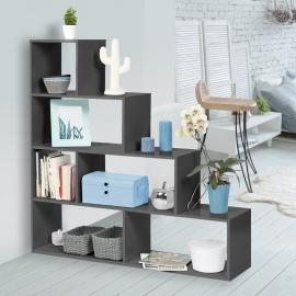 Bibliothèque LINA étagère en bois gris 115 cm