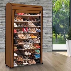 Etagère range chaussures 50 paires ECO avec sa housse chocolat