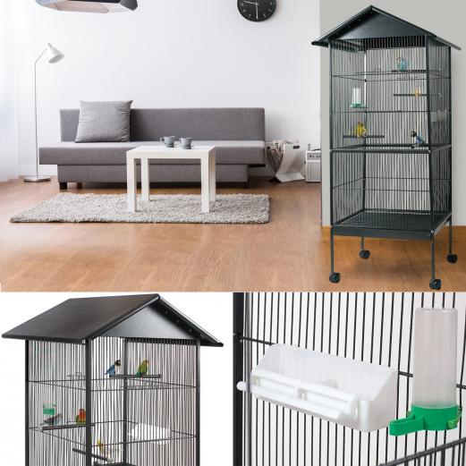voli re cage oiseaux avec toit 4 roues en m tal pour canaris. Black Bedroom Furniture Sets. Home Design Ideas