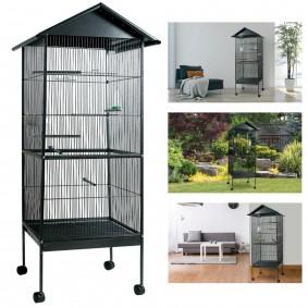 Volière cage à oiseaux avec toit 4 roues en métal pour canaris, perruches