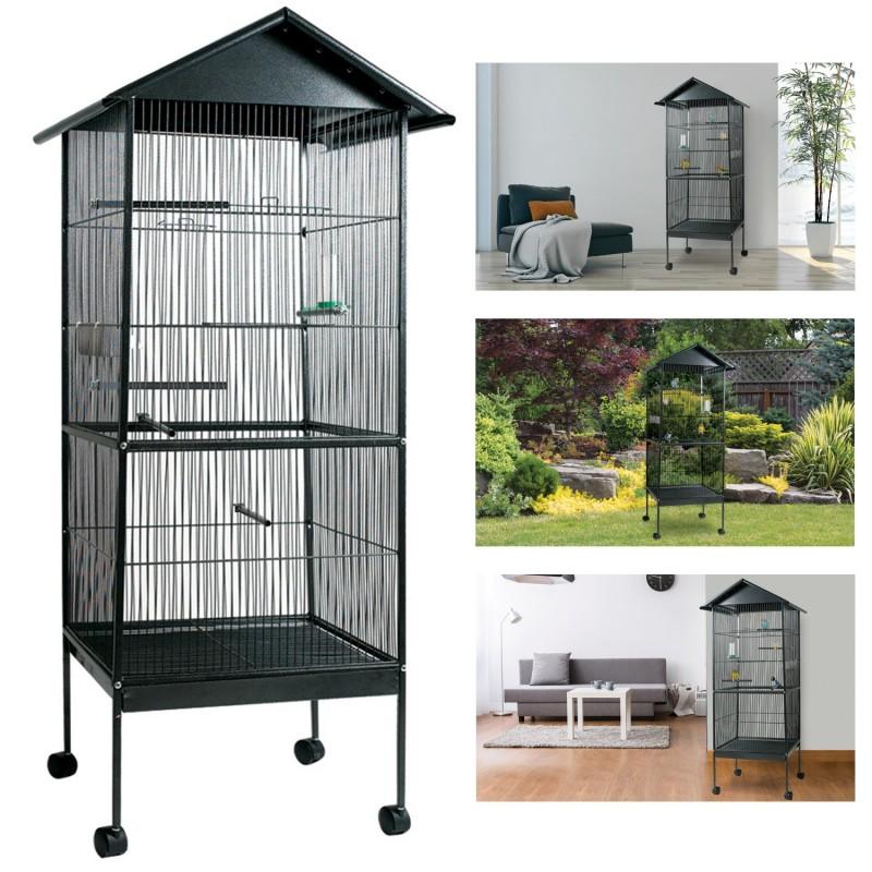 voli re cage oiseaux avec toit 4 roues en m tal pour canaris per. Black Bedroom Furniture Sets. Home Design Ideas