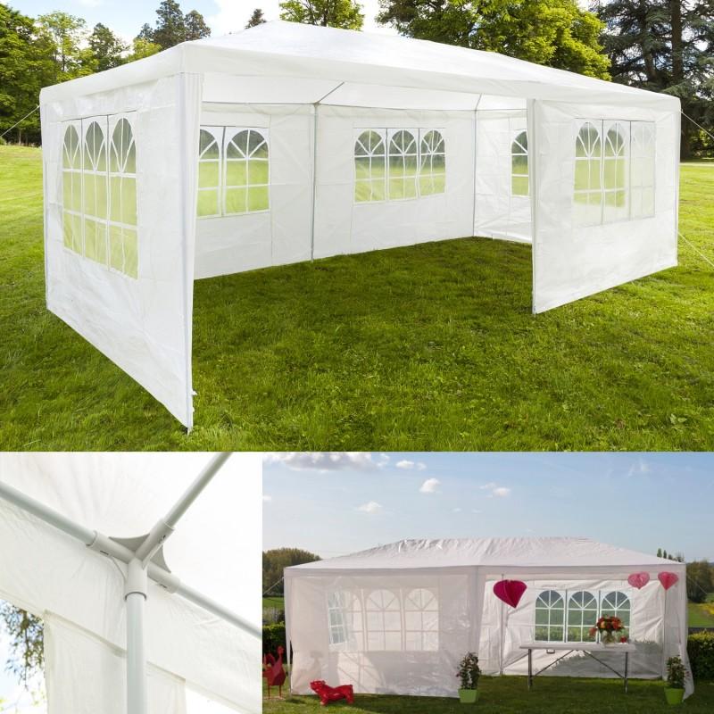 chapiteau 3x6 m tente tonnelle de r ception blanche avec 4 cot s. Black Bedroom Furniture Sets. Home Design Ideas