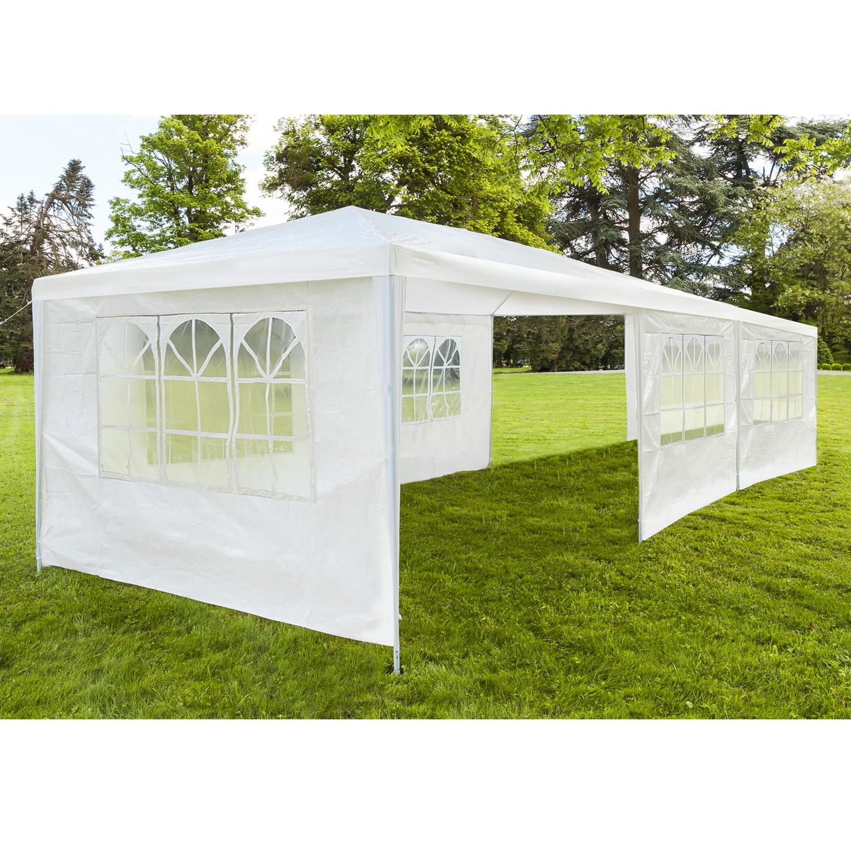chapiteau 3x9 m tente tonnelle de r ception blanche avec 6 cot s c. Black Bedroom Furniture Sets. Home Design Ideas