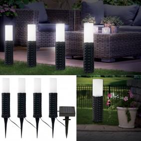 Borne solaire imitation rotin X4 balise led éclairage exterieur